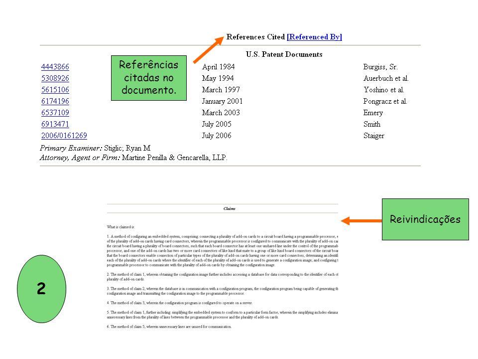 Referências citadas no documento. Reivindicações 2