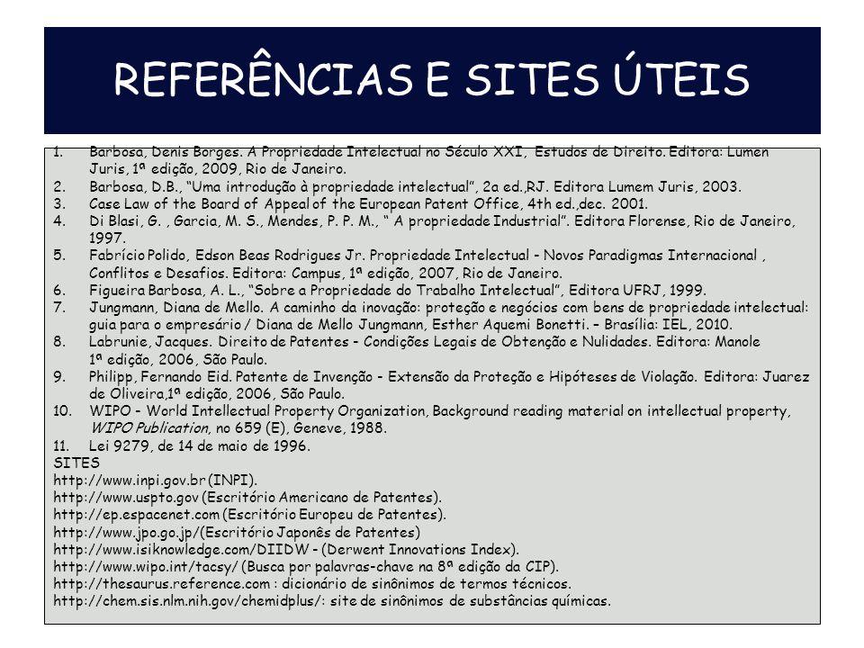 REFERÊNCIAS E SITES ÚTEIS 1.Barbosa, Denis Borges.
