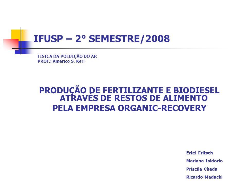 IFUSP – 2° SEMESTRE/2008 FÍSICA DA POLUIÇÃO DO AR PROF.: Américo S. Kerr PRODUÇÃO DE FERTILIZANTE E BIODIESEL ATRAVÉS DE RESTOS DE ALIMENTO PELA EMPRE