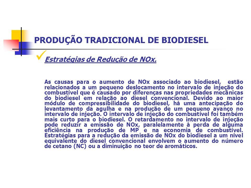 Estratégias de Redução de NOx. As causas para o aumento de NOx associado ao biodiesel, estão relacionados a um pequeno deslocamento no intervalo de in