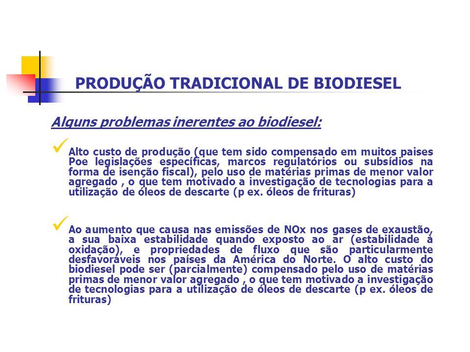 PRODUÇÃO TRADICIONAL DE BIODIESEL Alguns problemas inerentes ao biodiesel: Alto custo de produção (que tem sido compensado em muitos paises Poe legisl
