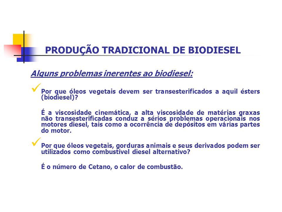 PRODUÇÃO TRADICIONAL DE BIODIESEL Alguns problemas inerentes ao biodiesel: Por que óleos vegetais devem ser transesterificados a aquil ésters (biodies