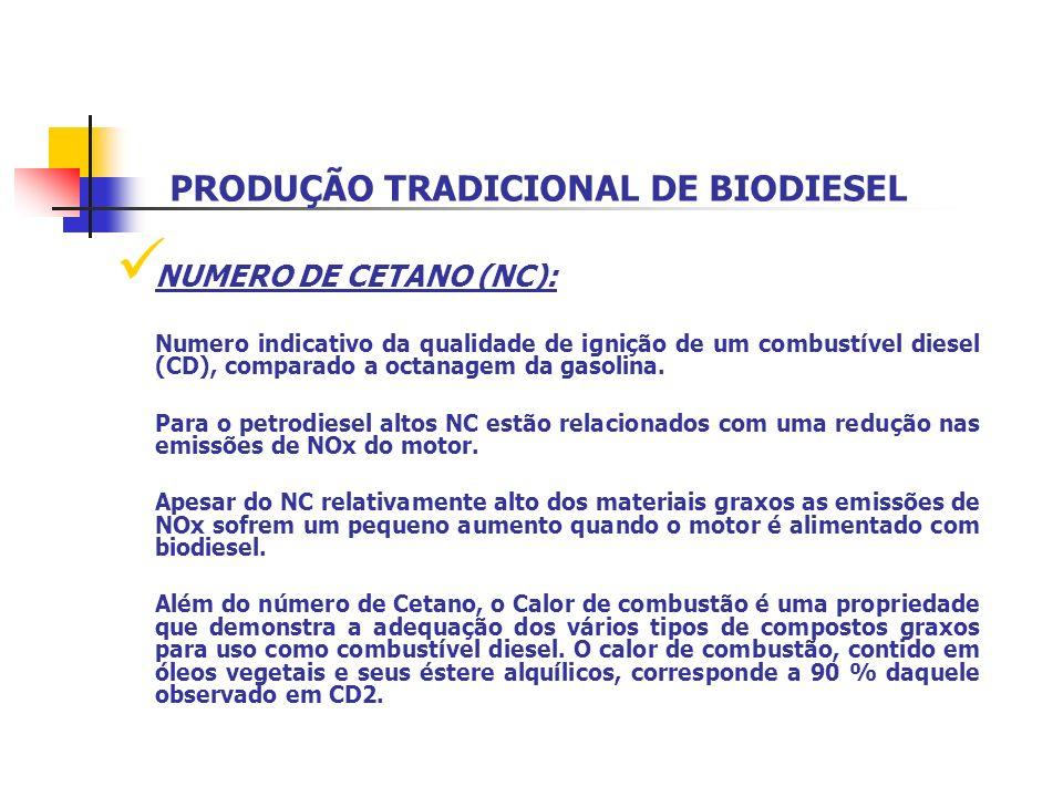 PRODUÇÃO TRADICIONAL DE BIODIESEL NUMERO DE CETANO (NC): Numero indicativo da qualidade de ignição de um combustível diesel (CD), comparado a octanage