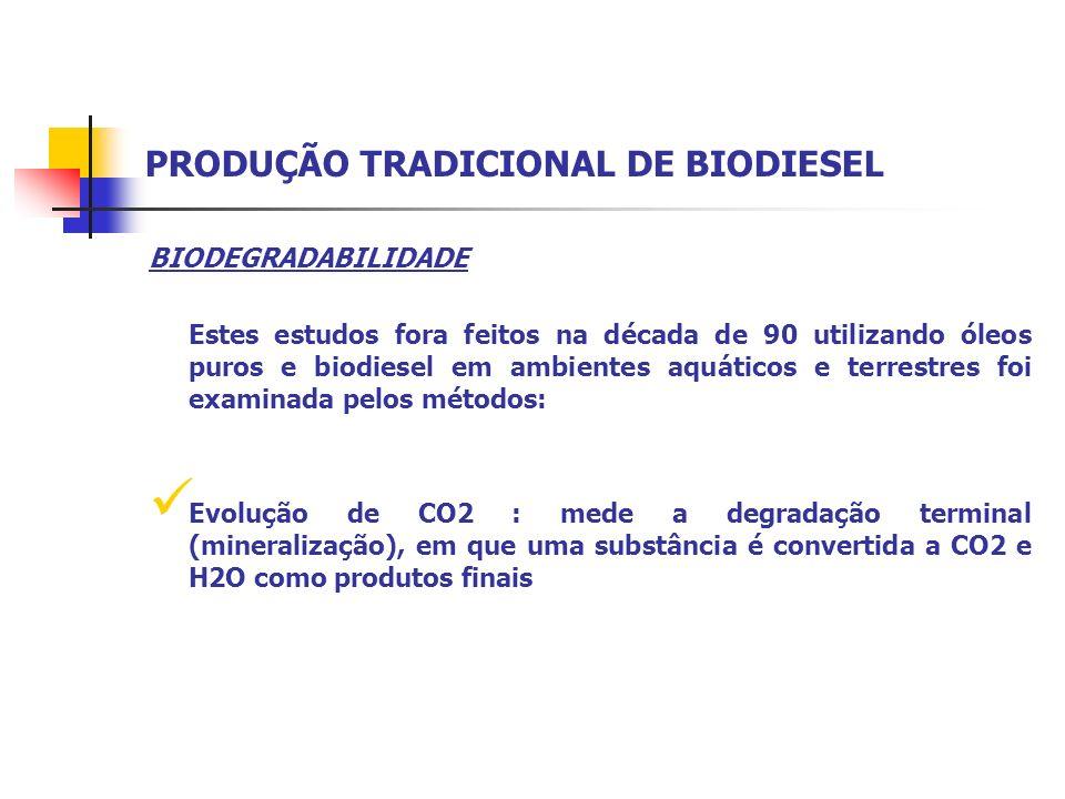 BIODEGRADABILIDADE Estes estudos fora feitos na década de 90 utilizando óleos puros e biodiesel em ambientes aquáticos e terrestres foi examinada pelo