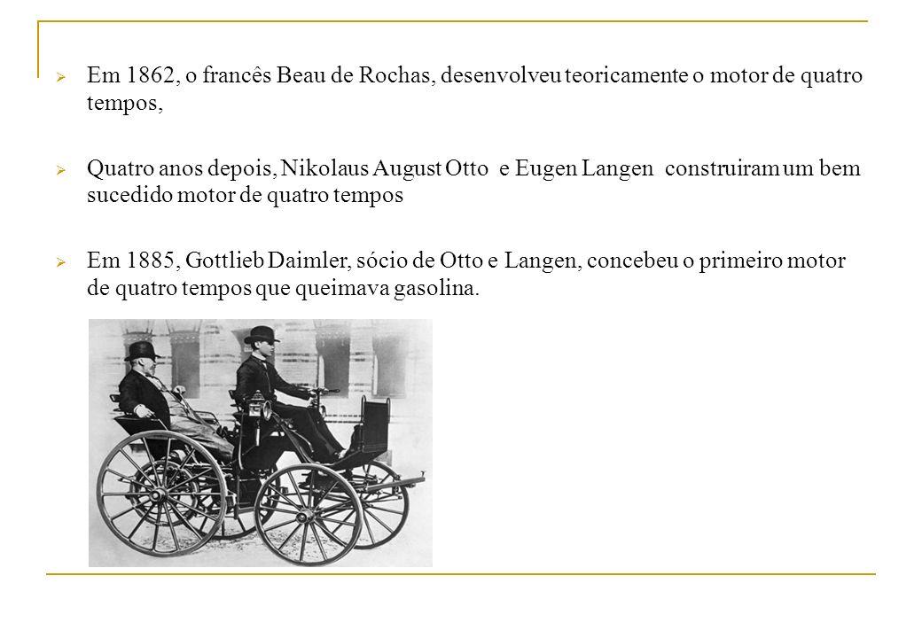 Em 1862, o francês Beau de Rochas, desenvolveu teoricamente o motor de quatro tempos, Quatro anos depois, Nikolaus August Otto e Eugen Langen construi