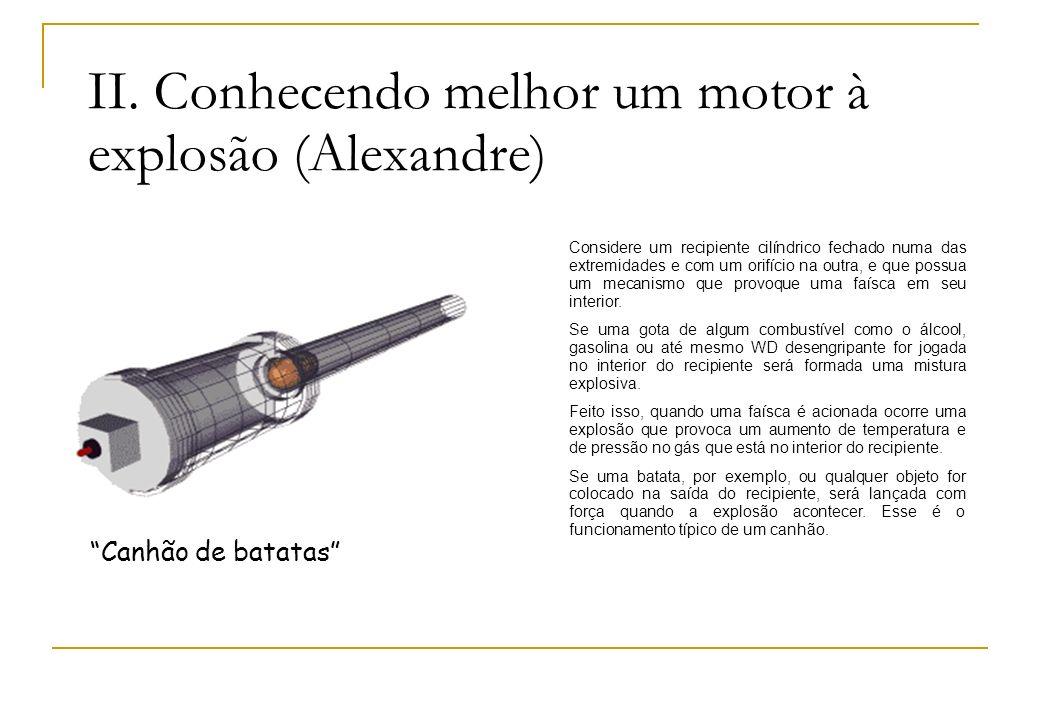 II. Conhecendo melhor um motor à explosão (Alexandre) Canhão de batatas Considere um recipiente cilíndrico fechado numa das extremidades e com um orif