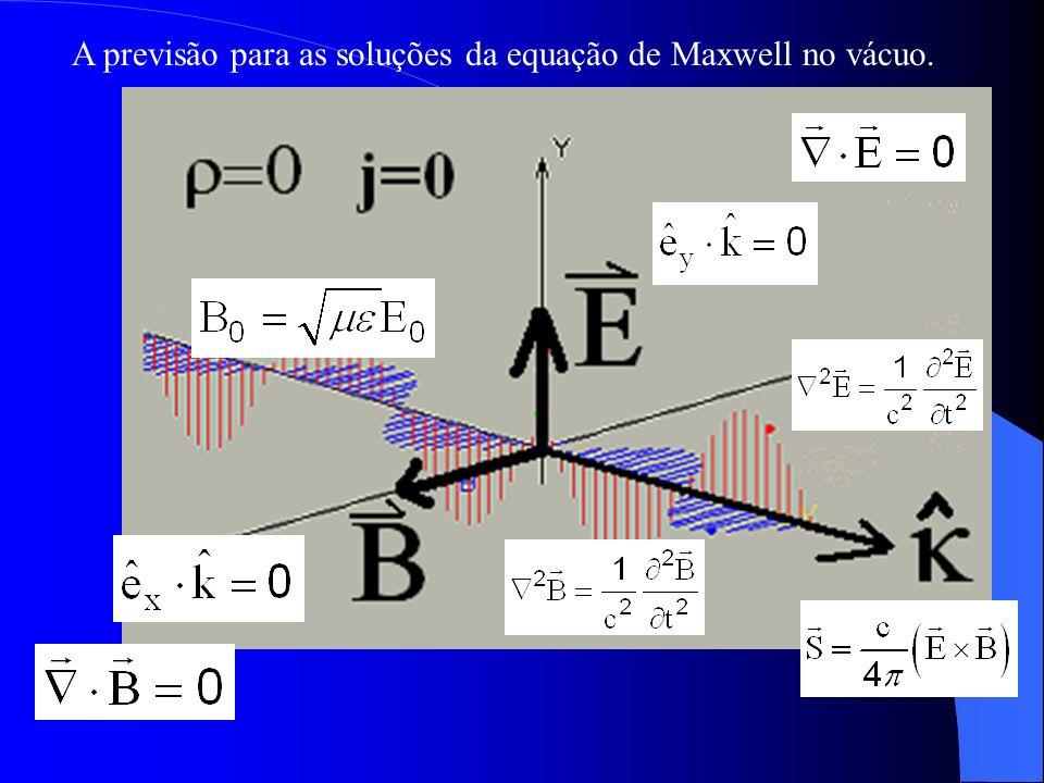 A previsão para as soluções da equação de Maxwell no vácuo.