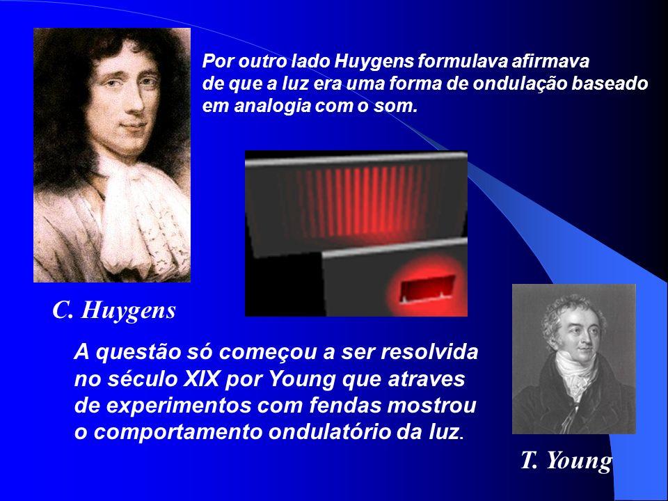 T. Young C. Huygens Por outro lado Huygens formulava afirmava de que a luz era uma forma de ondulação baseado em analogia com o som. A questão só come