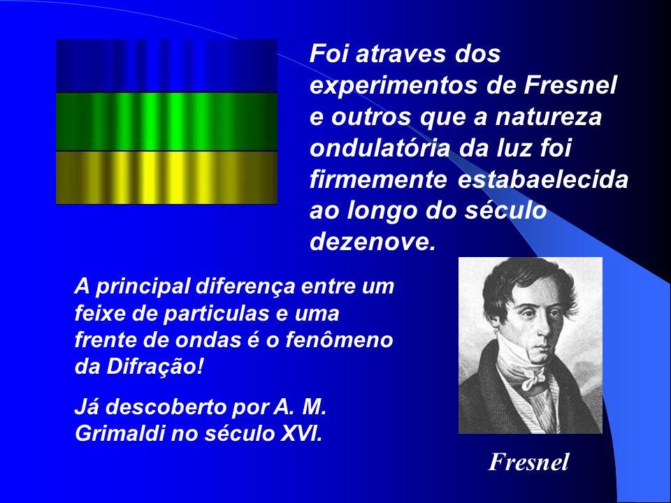 Fresnel Foi atraves dos experimentos de Fresnel e outros que a natureza ondulatória da luz foi firmemente estabaelecida ao longo do século dezenove. A