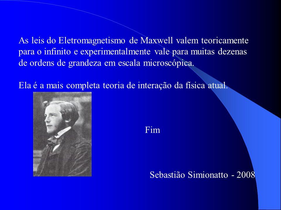 As leis do Eletromagnetismo de Maxwell valem teoricamente para o infinito e experimentalmente vale para muitas dezenas de ordens de grandeza em escala