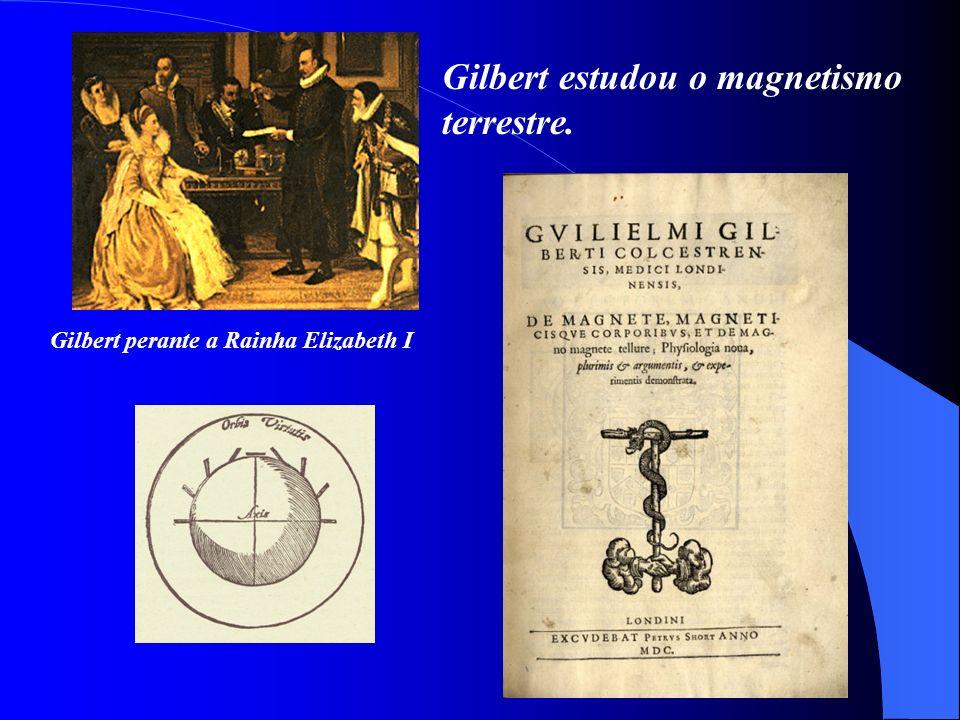 Gilbert estudou o magnetismo terrestre. Gilbert perante a Rainha Elizabeth I