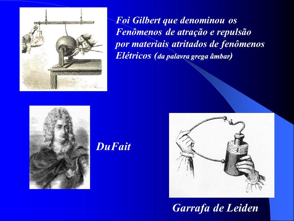 DuFait Garrafa de Leiden Foi Gilbert que denominou os Fenômenos de atração e repulsão por materiais atritados de fenômenos Elétricos ( da palavra greg