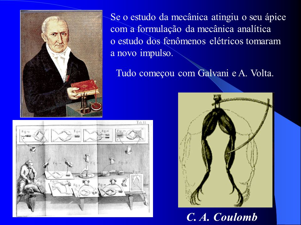 Se o estudo da mecânica atingiu o seu ápice com a formulação da mecânica analítica o estudo dos fenômenos elétricos tomaram a novo impulso. J. A. Coul