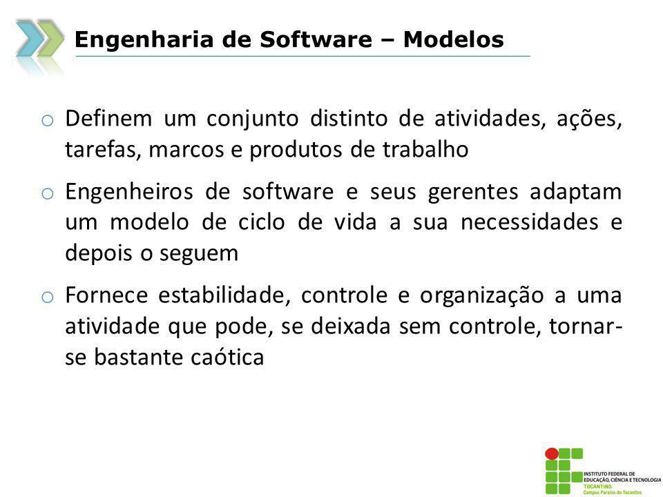 Engenharia de Software – Modelos o Técnicas de Quarta Geração o Desvantagens o O cliente pode estar inseguro quanto aos requisitos o O cliente pode ser incapaz de especificar as informações de forma adequada o Pode não ser eficiente em projetos grandes