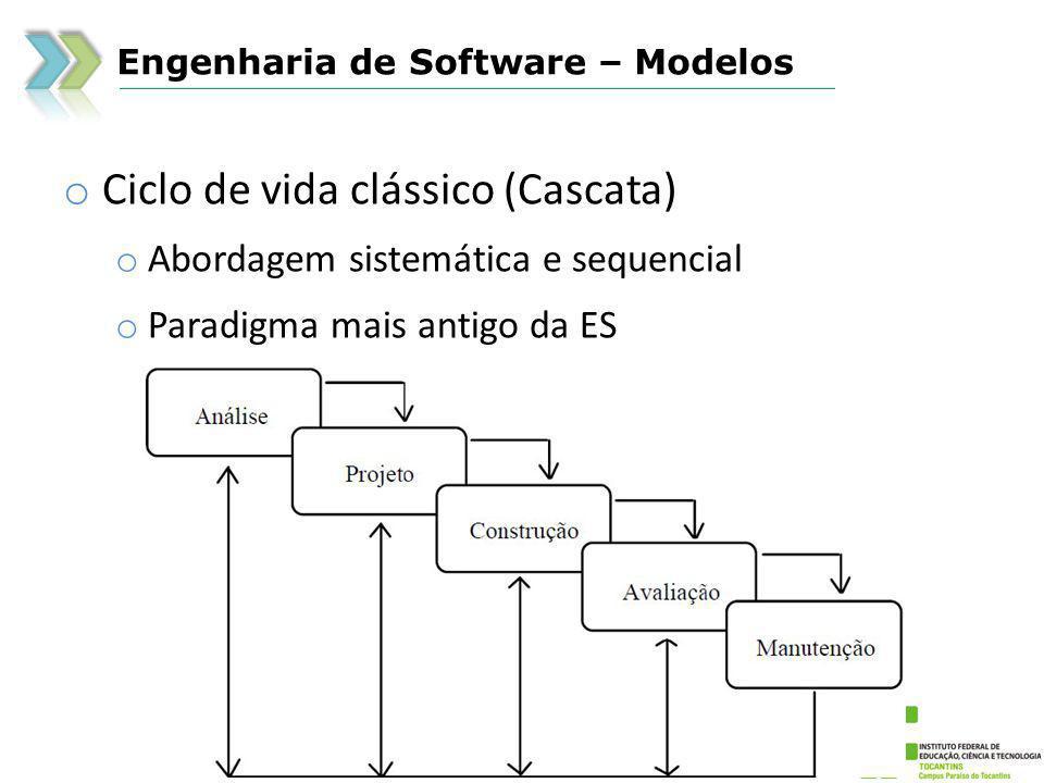 Engenharia de Software – Modelos o Ciclo de vida clássico (Cascata) o Vantagens o Torna o processo estruturado de forma fácil de ser visualizado e utilizado o Todas as atividades identificadas nas fases do modelo são fundamentais o Esta abordagem é quase que um padrão para muitas empresas