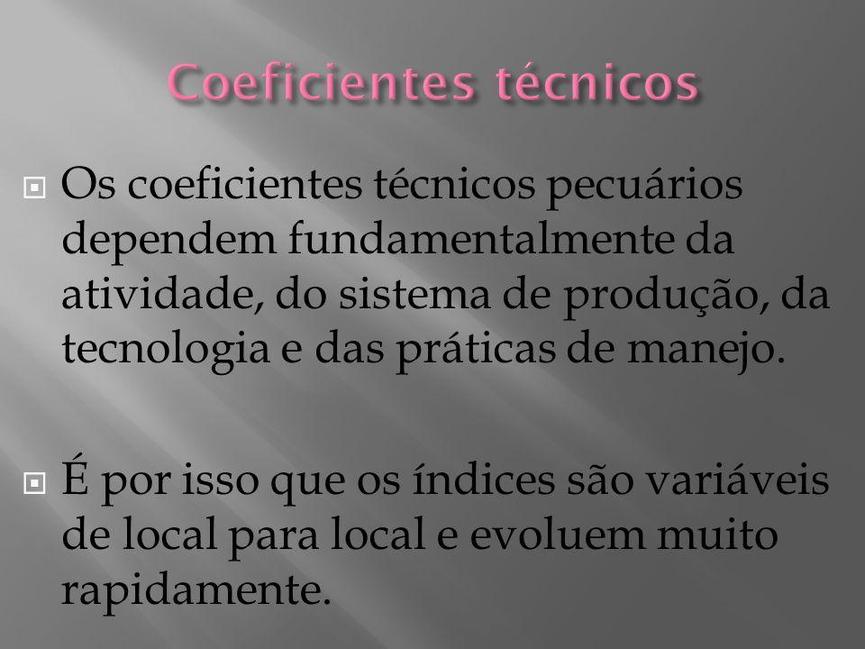 Os coeficientes técnicos pecuários dependem fundamentalmente da atividade, do sistema de produção, da tecnologia e das práticas de manejo.