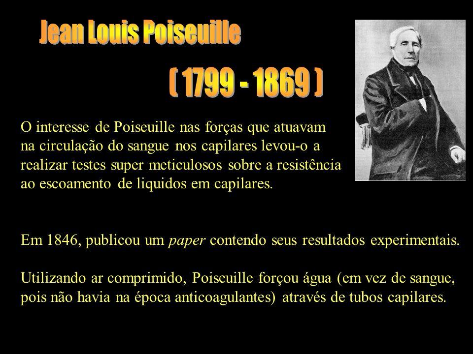 (1799 - 1869) O interesse de Poiseuille nas forças que atuavam na circulação do sangue nos capilares levou-o a realizar testes super meticulosos sobre a resistência ao escoamento de liquidos em capilares.