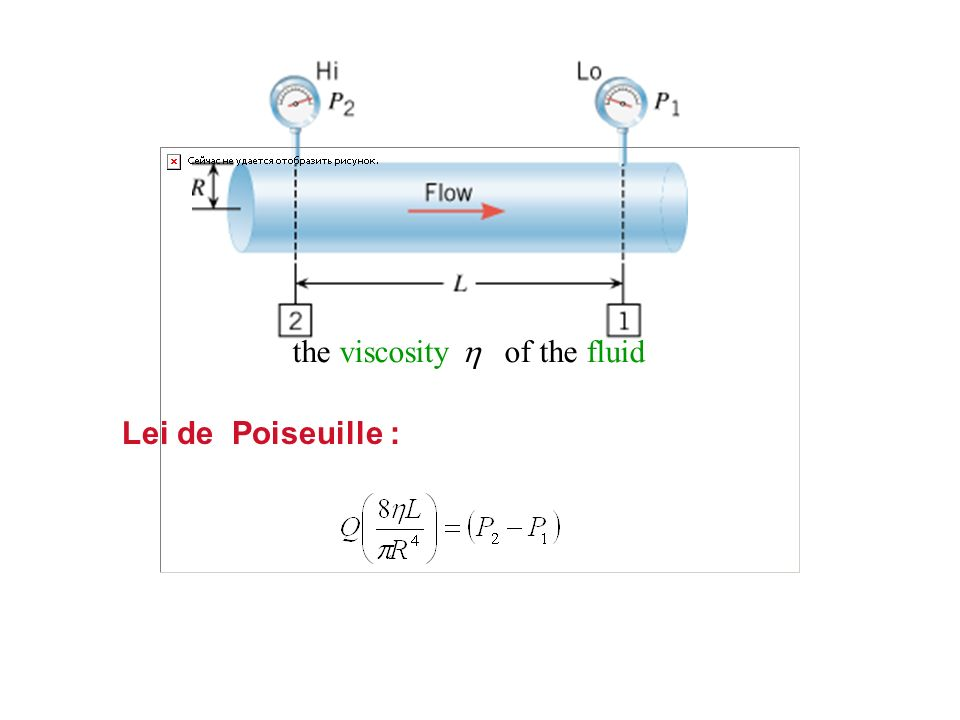 the viscosity of the fluid Lei de Poiseuille :
