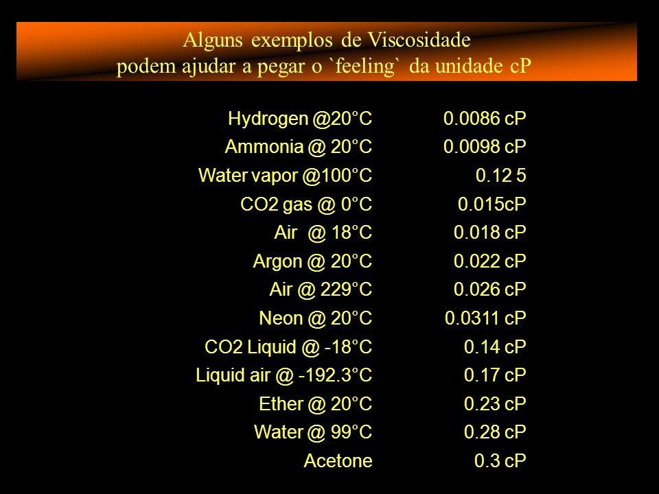 Alguns exemplos de Viscosidade podem ajudar a pegar o `feeling` da unidade cP Hydrogen @20°C0.0086 cP Ammonia @ 20°C0.0098 cP Water vapor @100°C0.12 5 CO2 gas @ 0°C0.015cP Air @ 18°C0.018 cP Argon @ 20°C0.022 cP Air @ 229°C0.026 cP Neon @ 20°C0.0311 cP CO2 Liquid @ -18°C0.14 cP Liquid air @ -192.3°C0.17 cP Ether @ 20°C0.23 cP Water @ 99°C0.28 cP Acetone0.3 cP