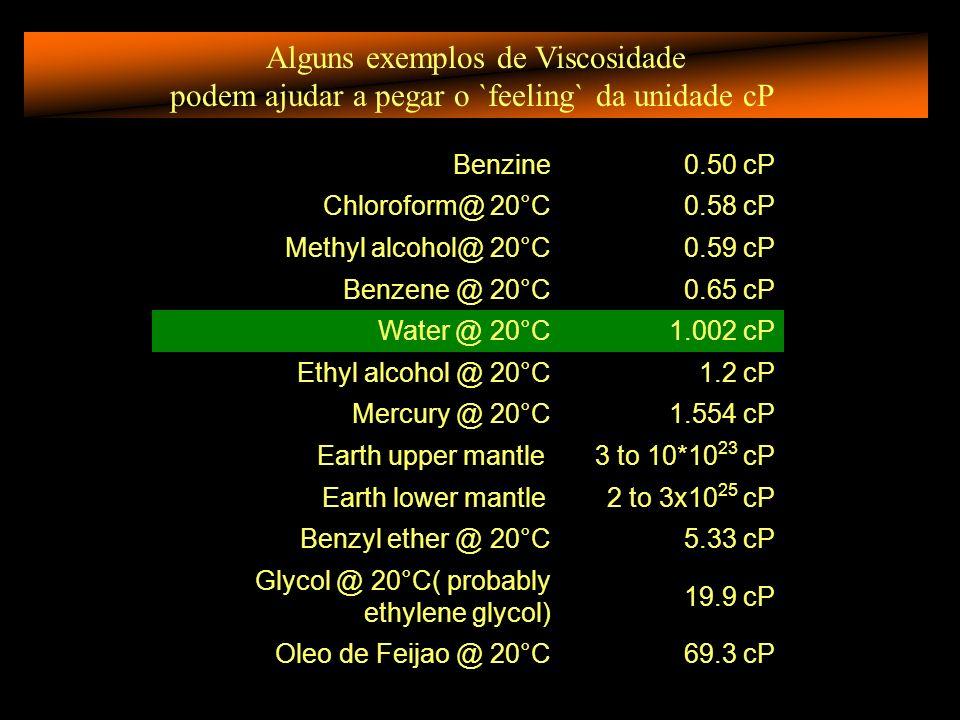 Alguns exemplos de Viscosidade podem ajudar a pegar o `feeling` da unidade cP Benzine0.50 cP Chloroform@ 20°C0.58 cP Methyl alcohol@ 20°C0.59 cP Benzene @ 20°C0.65 cP Water @ 20°C1.002 cP Ethyl alcohol @ 20°C1.2 cP Mercury @ 20°C1.554 cP Earth upper mantle 3 to 10*10 23 cP Earth lower mantle 2 to 3x10 25 cP Benzyl ether @ 20°C5.33 cP Glycol @ 20°C( probably ethylene glycol) 19.9 cP Oleo de Feijao @ 20°C69.3 cP