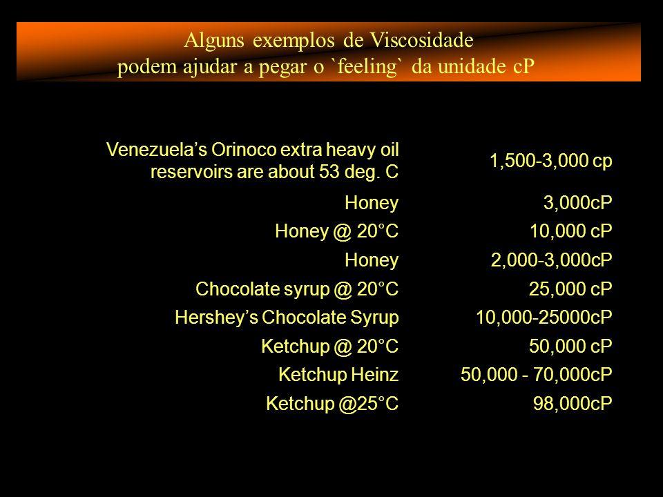 Alguns exemplos de Viscosidade podem ajudar a pegar o `feeling` da unidade cP Venezuelas Orinoco extra heavy oil reservoirs are about 53 deg.