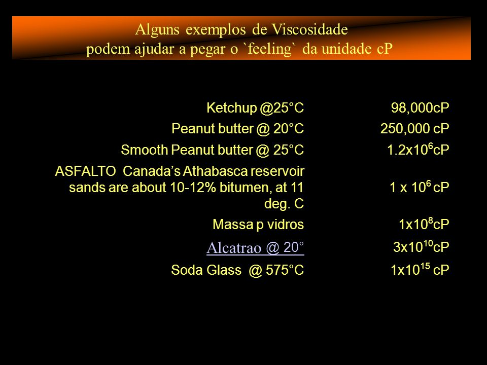 Alguns exemplos de Viscosidade podem ajudar a pegar o `feeling` da unidade cP Ketchup @25°C98,000cP Peanut butter @ 20°C250,000 cP Smooth Peanut butte