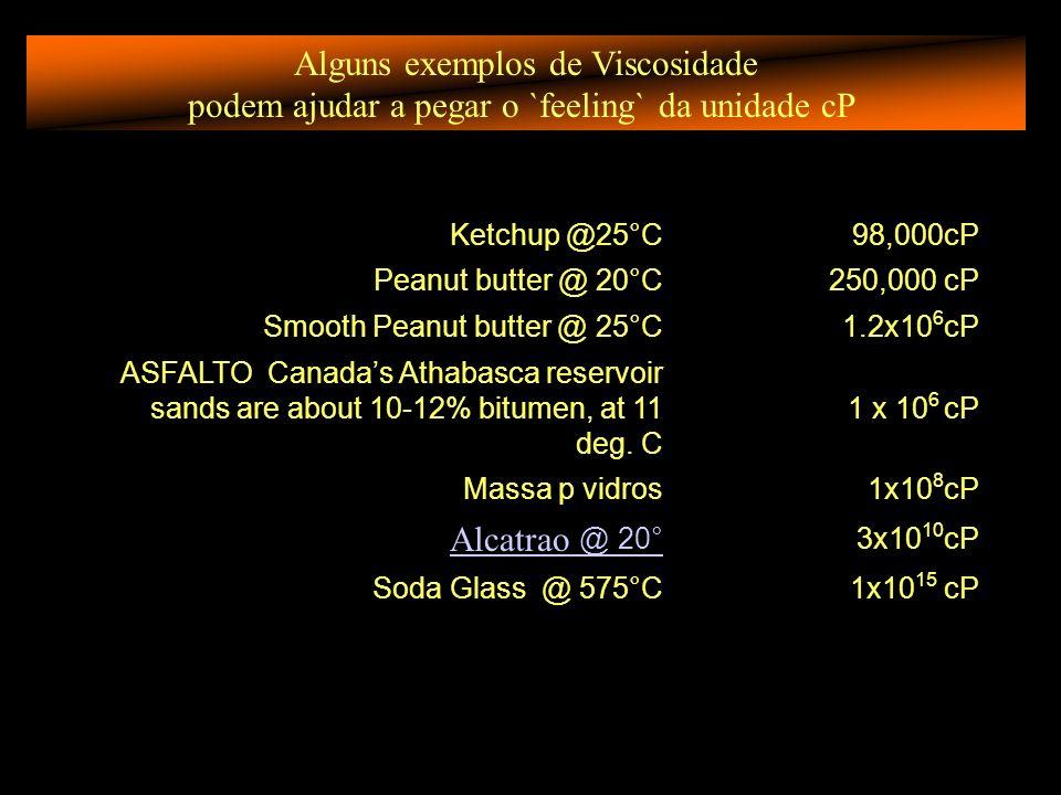 Alguns exemplos de Viscosidade podem ajudar a pegar o `feeling` da unidade cP Ketchup @25°C98,000cP Peanut butter @ 20°C250,000 cP Smooth Peanut butter @ 25°C1.2x10 6 cP ASFALTO Canadas Athabasca reservoir sands are about 10-12% bitumen, at 11 deg.