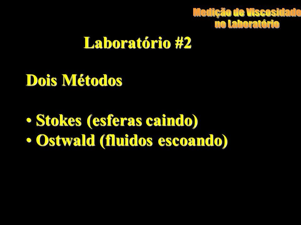 Laboratório #2 Dois Métodos Stokes (esferas caindo) Stokes (esferas caindo) Ostwald (fluidos escoando) Ostwald (fluidos escoando)