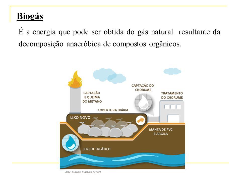 Biogás É a energia que pode ser obtida do gás natural resultante da decomposição anaeróbica de compostos orgânicos.