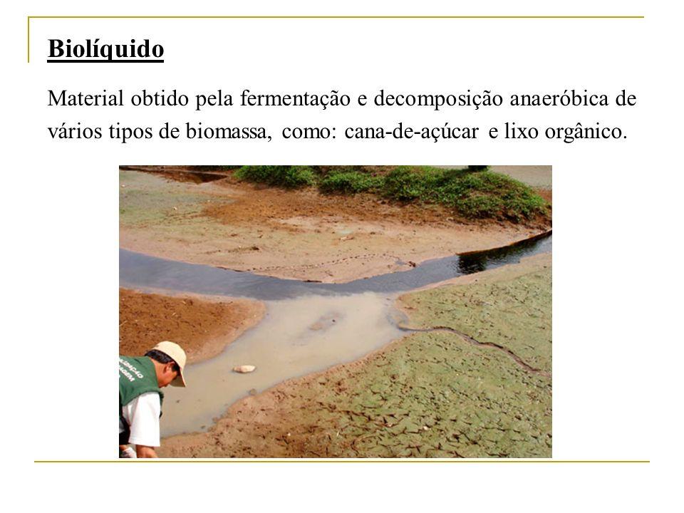 Biolíquido Material obtido pela fermentação e decomposição anaeróbica de vários tipos de biomassa, como: cana-de-açúcar e lixo orgânico.