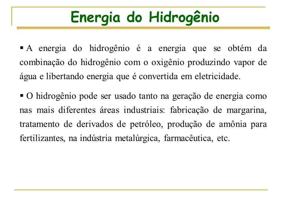 A energia do hidrogênio é a energia que se obtém da combinação do hidrogênio com o oxigênio produzindo vapor de água e libertando energia que é convertida em eletricidade.