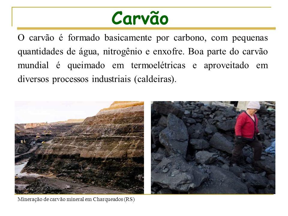 Carvão O carvão é formado basicamente por carbono, com pequenas quantidades de água, nitrogênio e enxofre.