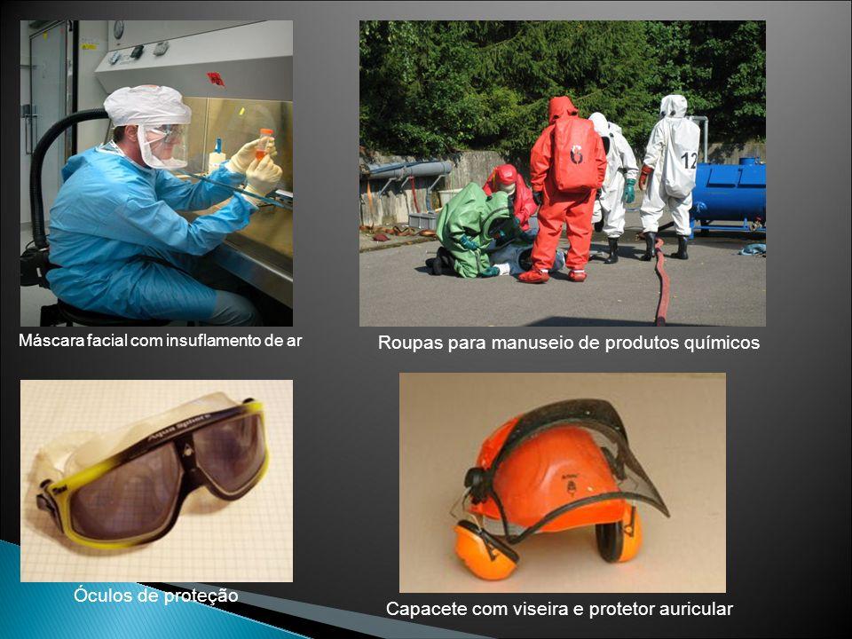 Roupas para manuseio de produtos químicos Capacete com viseira e protetor auricular Máscara facial com insuflamento de ar Óculos de proteção