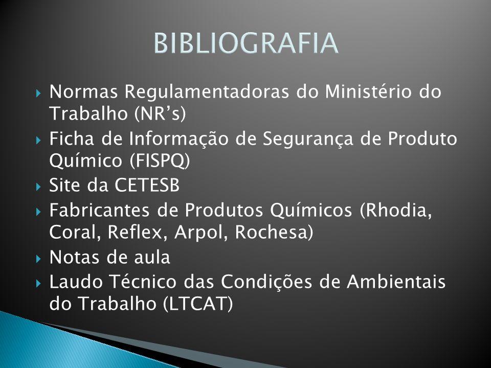 BIBLIOGRAFIA Normas Regulamentadoras do Ministério do Trabalho (NRs) Ficha de Informação de Segurança de Produto Químico (FISPQ) Site da CETESB Fabric