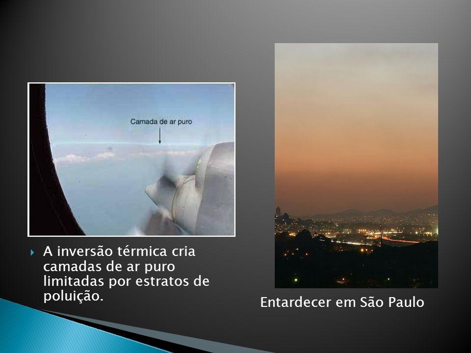 A inversão térmica cria camadas de ar puro limitadas por estratos de poluição. Entardecer em São Paulo