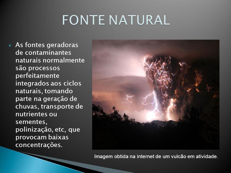 As fontes geradoras de contaminantes naturais normalmente são processos perfeitamente integrados aos ciclos naturais, tomando parte na geração de chuv