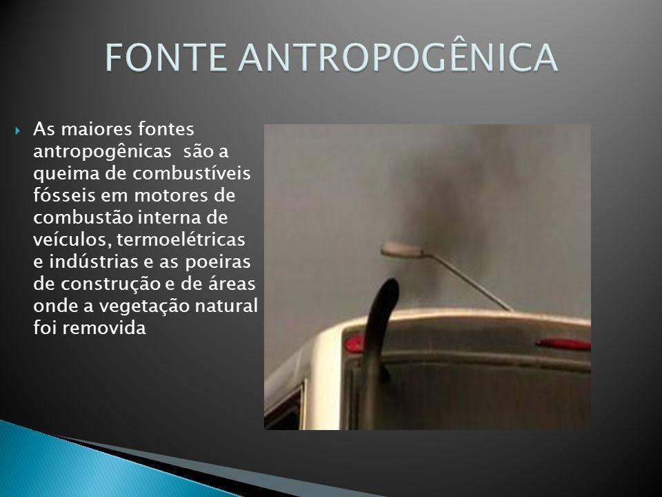 As maiores fontes antropogênicas são a queima de combustíveis fósseis em motores de combustão interna de veículos, termoelétricas e indústrias e as po