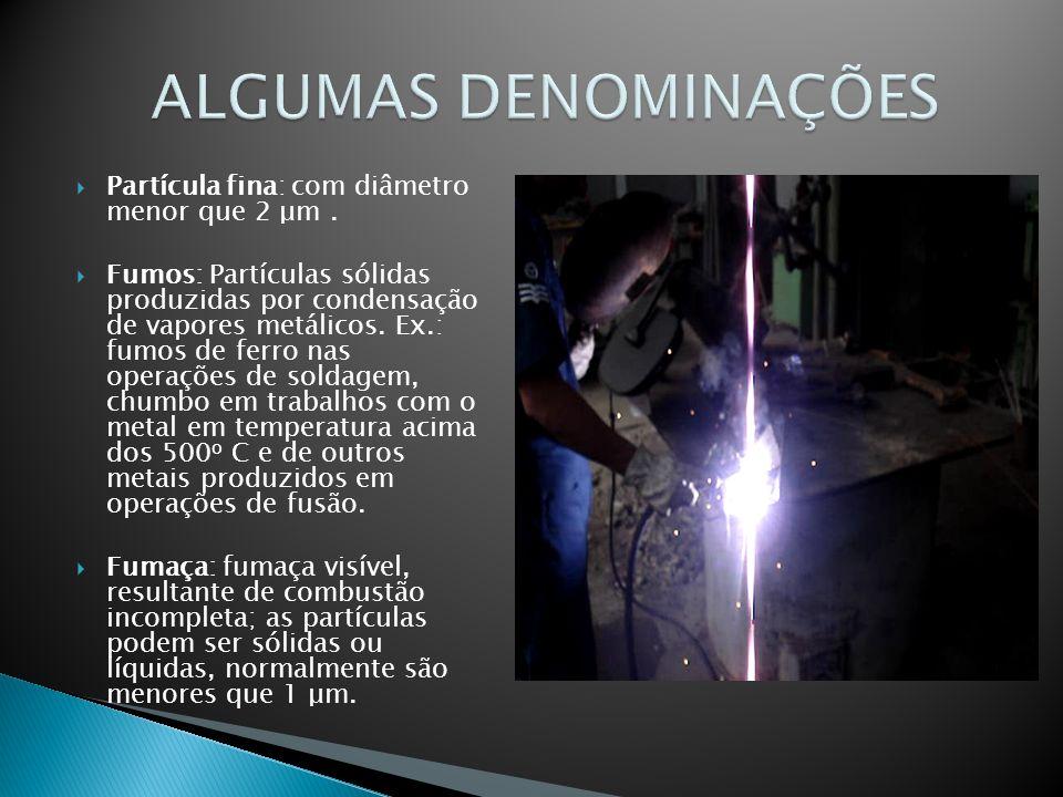 Partícula fina: com diâmetro menor que 2 μm. Fumos: Partículas sólidas produzidas por condensação de vapores metálicos. Ex.: fumos de ferro nas operaç