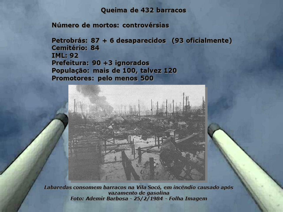 Queima de 432 barracos Número de mortos: controvérsias Petrobrás: 87 + 6 desaparecidos (93 oficialmente) Cemitério: 84 IML: 92 Prefeitura: 90 +3 ignor