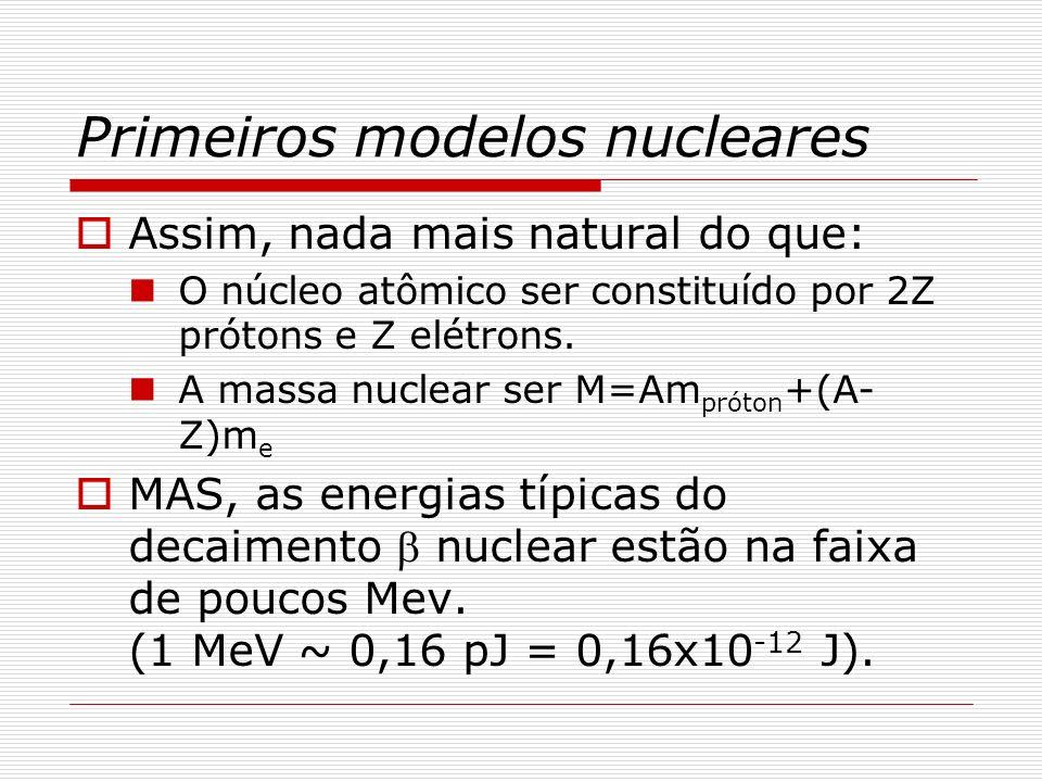 Os núcleos não contêm elétrons O Princípio da Incerteza nos diz que: px ~ (h/2) x é da ordem de grandeza do raio nuclear: 10 fm (10x10 -15 m) p ~ (h/2)x ~ 20 MeV/c E ~ [(pc) 2 +(m e c 2 ) 2 ] 1/2 ~ 20 MeV ( ~ 3,2 pJ) Considerando que no decaimento, elétrons com cerca de 1 MeV (~ 0,16 pJ) são emitidos pelo núcleo, podemos concluir que: Os elétrons não cabem dentro do núcleo.