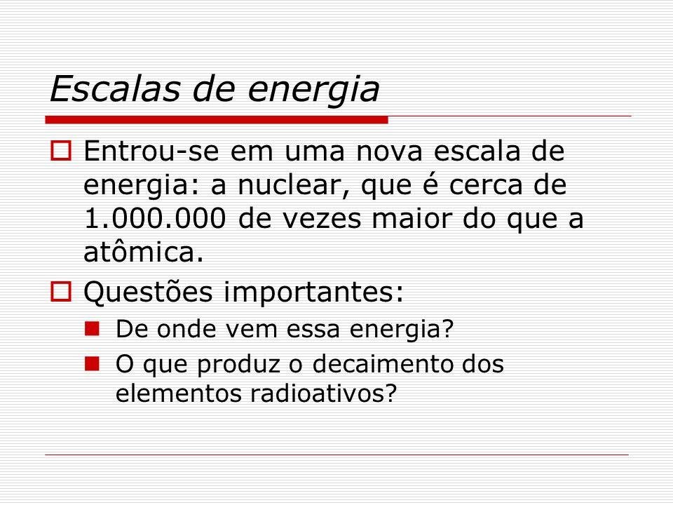 Escalas de energia Já em 1905, Einstein, em um dos cinco trabalhos publicados nesse ano miraculoso, escrevia:...