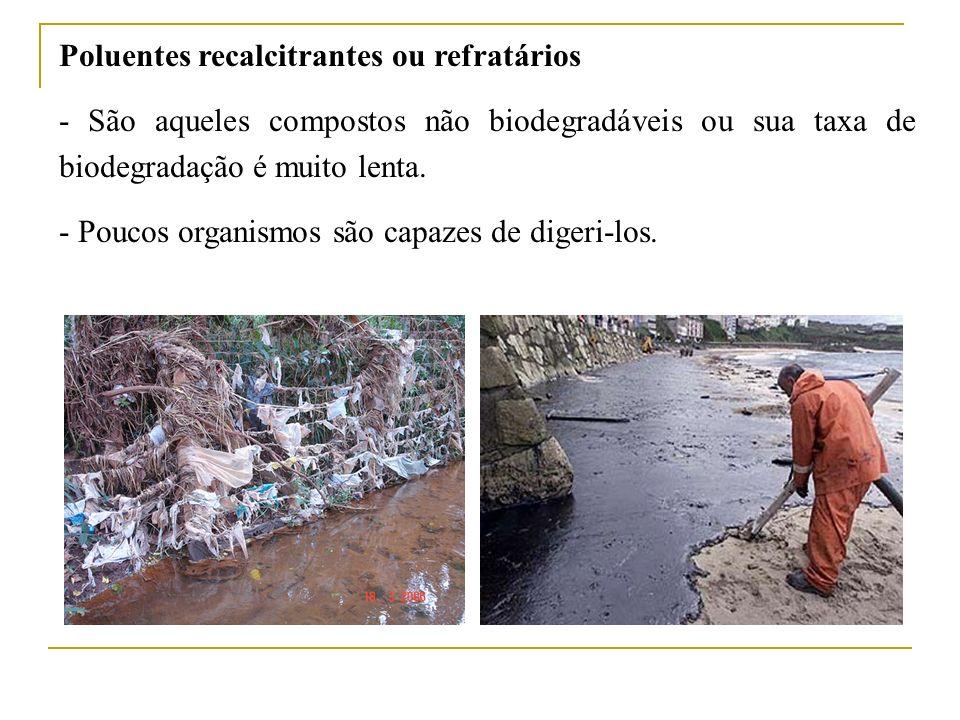 Poluentes recalcitrantes ou refratários - São aqueles compostos não biodegradáveis ou sua taxa de biodegradação é muito lenta. - Poucos organismos são