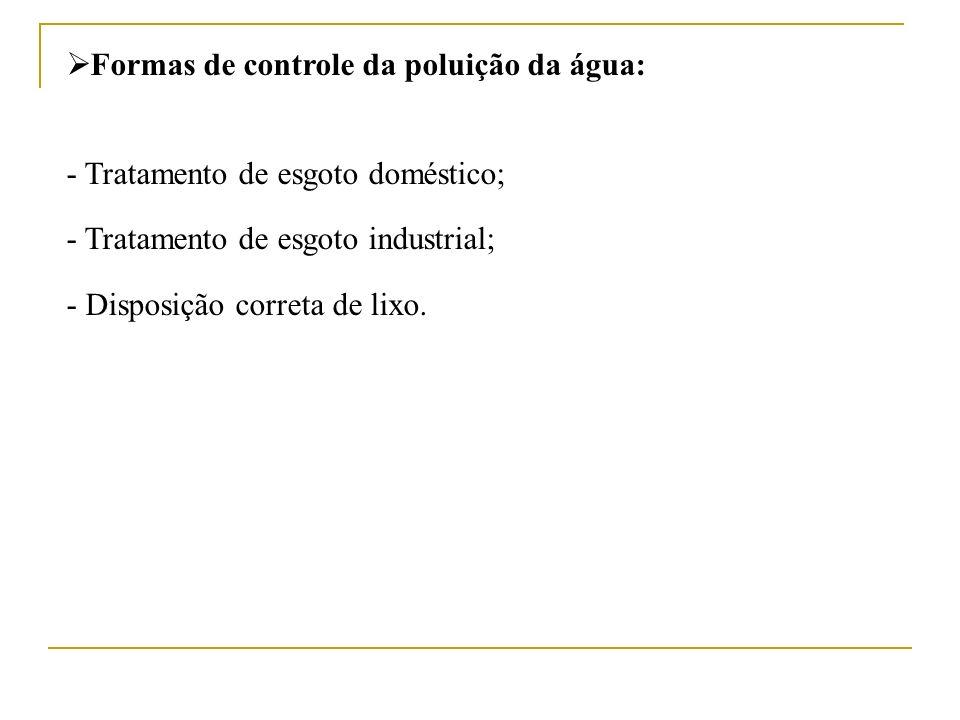 Formas de controle da poluição da água: - Tratamento de esgoto doméstico; - Tratamento de esgoto industrial; - Disposição correta de lixo.