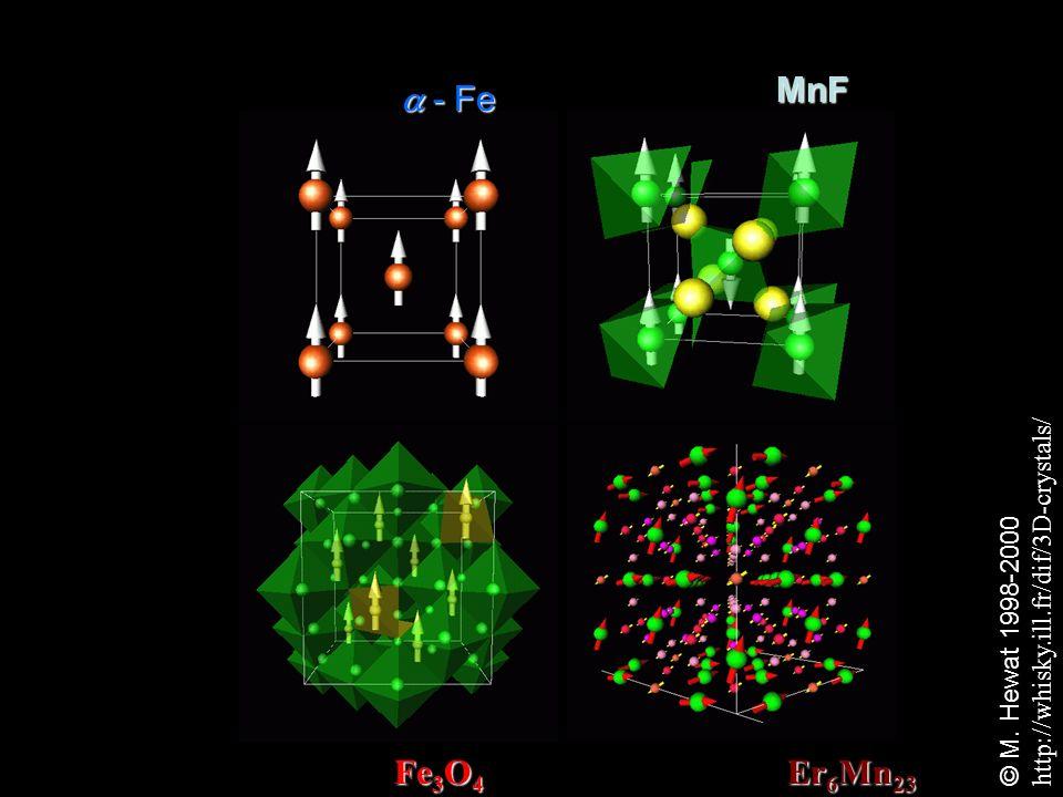MnF Er 6 Mn 23 HAFM: Er 6 Mn 23 Fe 3 O 4 FIM: Fe 3 O 4 - Fe - Fe © M. Hewat 1998-2000 http://whisky.ill.fr/dif/3D-crystals/