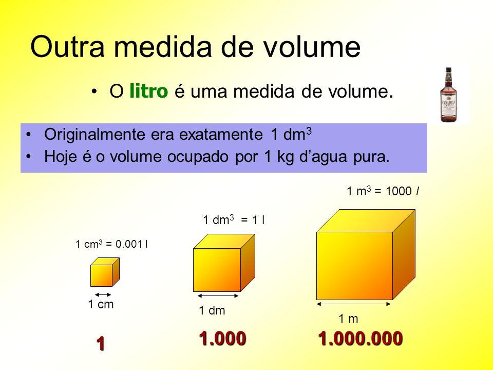 Outra medida de volume O litro é uma medida de volume. Originalmente era exatamente 1 dm 3 Hoje é o volume ocupado por 1 kg dagua pura. 1 cm 1 cm 3 =
