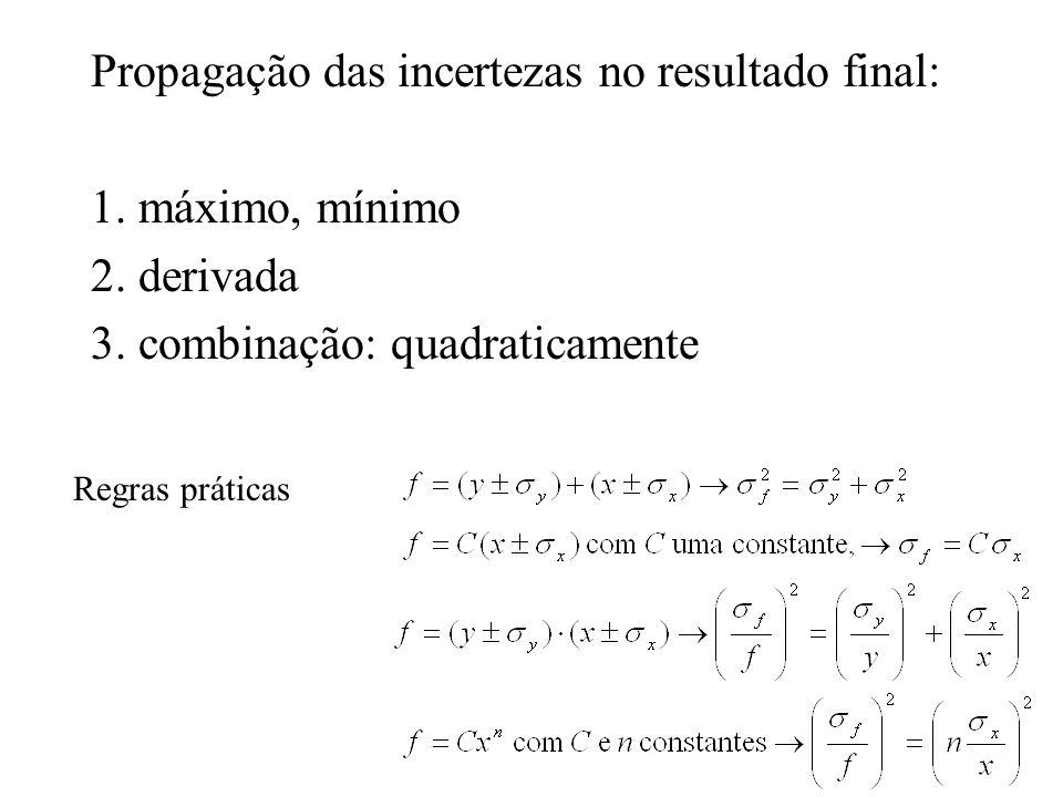 Propagação das incertezas no resultado final: 1. máximo, mínimo 2.