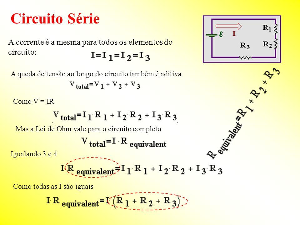 Circuito Série A corrente é a mesma para todos os elementos do circuito: Como V = IR A queda de tensão ao longo do circuito também é aditiva Mas a Lei de Ohm vale para o circuito completo Igualando 3 e 4 Como todas as I são iguais