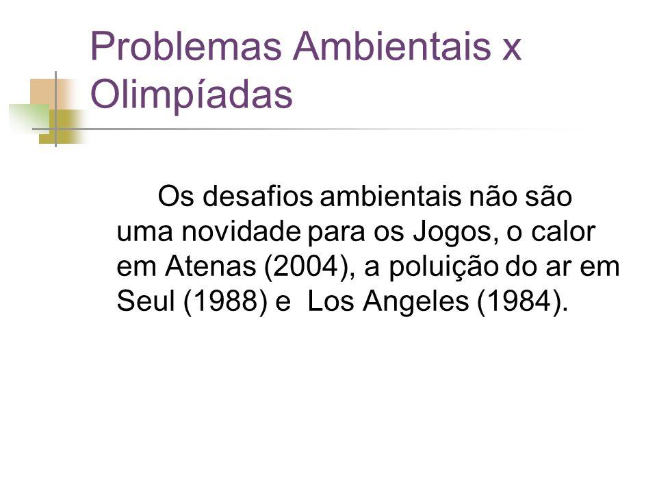 Problemas Ambientais x Olimpíadas Os desafios ambientais não são uma novidade para os Jogos, o calor em Atenas (2004), a poluição do ar em Seul (1988) e Los Angeles (1984).