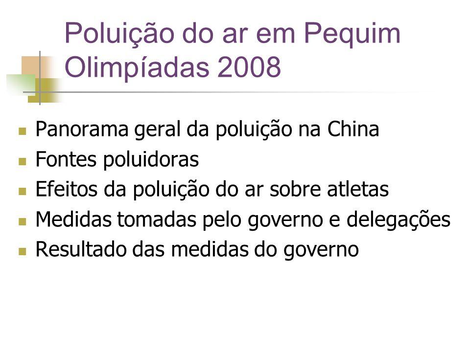 Poluição do ar em Pequim Olimpíadas 2008 Panorama geral da poluição na China Fontes poluidoras Efeitos da poluição do ar sobre atletas Medidas tomadas pelo governo e delegações Resultado das medidas do governo