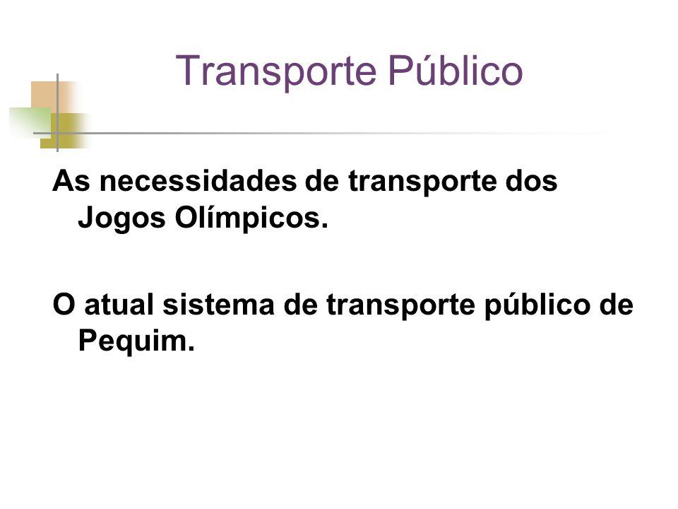 As necessidades de transporte dos Jogos Olímpicos. O atual sistema de transporte público de Pequim.